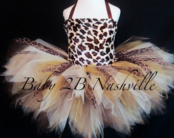 Girls Safari Cheetah Tutu Costume Size 2-4T Pageant Wear Outfit of Choice