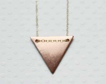 Triangle Necklace on Sterling Silver or Gold Filled Chain - Geometric Mixed Metal Necklace