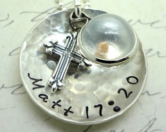 Faith Mustard Seed Necklace Personalized Sterling  Silver Custom - Matthew 17:20