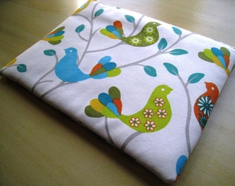 """Birds Teal and Green  - Macbook 13"""" Air or Macbook 13 Inch Pro - Laptop Case - Laptop Sleeve - Cover - Bag - Padded and Zipper Closure"""
