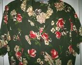 SALE Vintage 70's Rayon Floral Roses Retro Dress Size Large Long