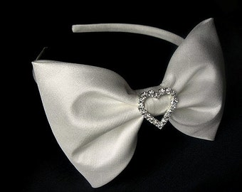 Agnes dupioni silk alice band with large bow and diamante heart