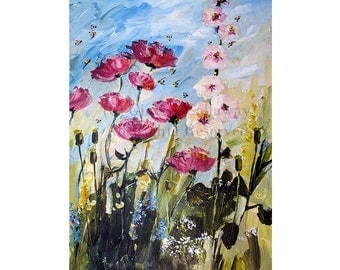Pink Poppies Hollyhock and Bees Original Painting Ready to Hang