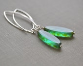 Aqua Green Sea Glass Earrings, Sterling Silver, Beach Glass Earrings, Boho Dangle