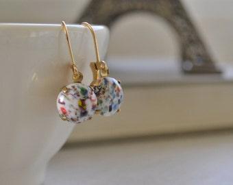 White Murano Millefiori Glass Earrings, Estate Vintage Glass Cabochon, White Speckled Glass Lever Back