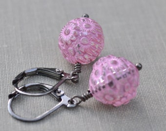 Pastel Pink Carved Lucite Earrings, Gunmetal Lever Back, Retro Vintage Etched Lucite Earrings