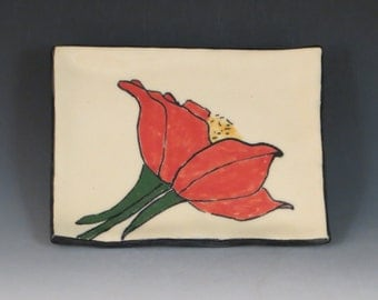 Handbuilt Ceramic Soap Dish with Flower