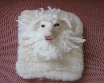 Whitney the felted white sheep