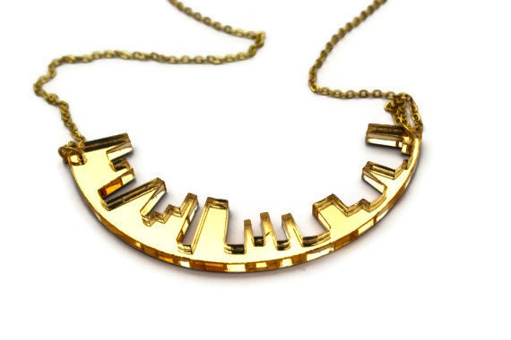 Gold Necklace Skyline Laser Cut in Mirror Acrylic Perspex on Gold Chain Plated New York London