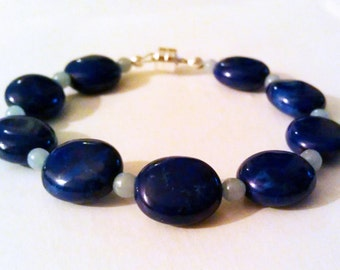 Lapis Blue Howlite and Angelite Bracelet