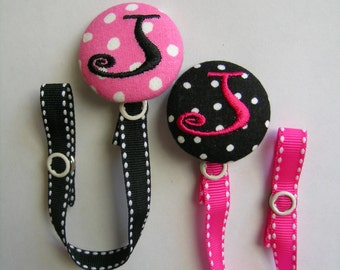 1 Personalized Pacifier Paci Binky Holder Clip Boutique Baby   U Design  Monogram Initial Valentines Day