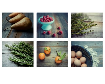 Food photography set  food photography  food still life farmhouse kitchen wall art rustic kitchen decor foodie art six prints