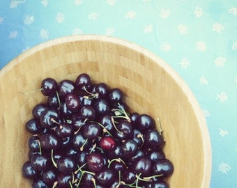 "Still life photography cherries fruit aqua teal farmhouse rustic kitchen decor food wall art  ""Summer Goodness"""