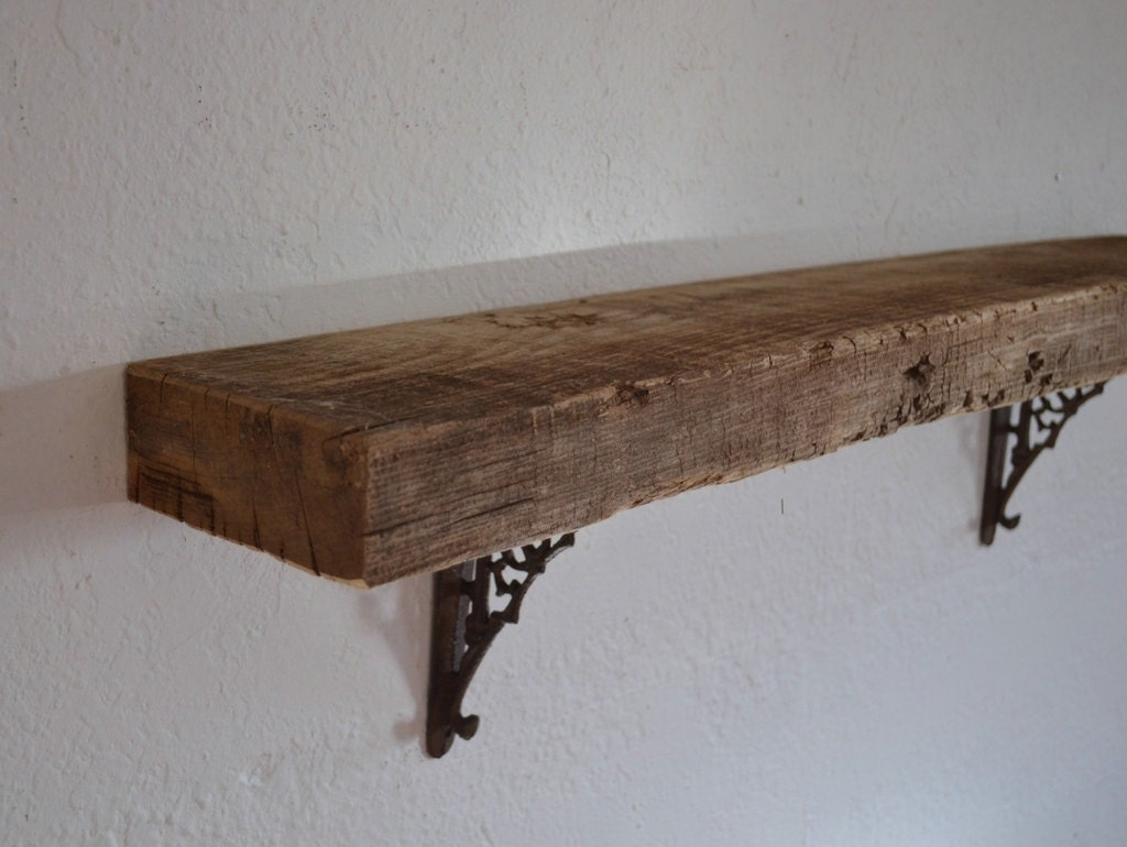 Amazing photo of Thick shabby chic wood wall shelf barnwood 33 x 5 x by barnwood4u with #412C20 color and 1024x770 pixels