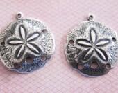 NEW 2 Medium Silver Sand Dollar Charms 3172