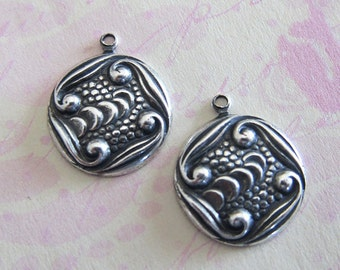 NEW 2 Silver Drop Charms 3107
