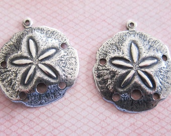 2 Medium Silver Sand Dollar Charms 3172
