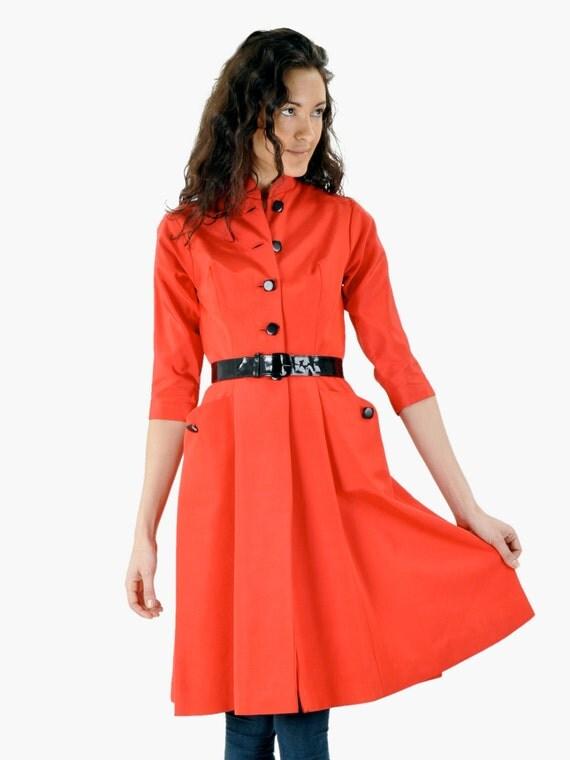 SALE - Vintage Lipstick Red Faille Belted Dress Coat