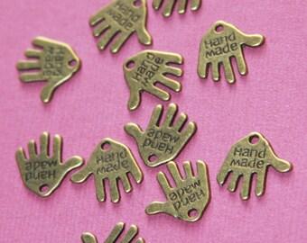20 pcs of antiqued  brass hand charm 13x12mm