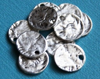 40 pcs of antiqued Silver  hammered coin drop 13mm