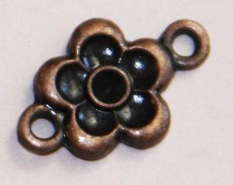 20 pcs of antique Copper  flower connector 16x11mm