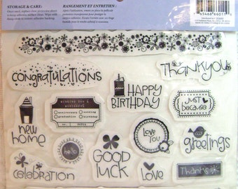 Stamp Occasion Phrases and Borders Rubber Cling Stamp by Heidi Grace Colorbok  - Kitsnbitscraps