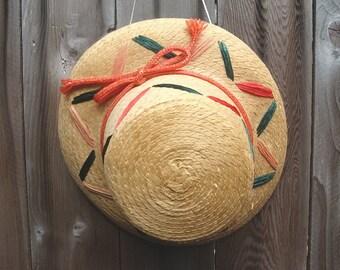 Vintage 50s Straw Hat Raffia Accents