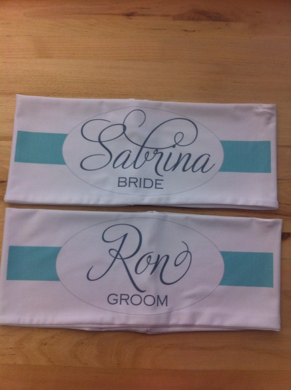 wedding personalized lycra chair band fancy script