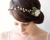 Rustic bridal head piece, Wedding hair accessory, Woodland wedding crown - BANDED