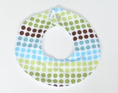 Collar Baby Bib Blue Green Dots