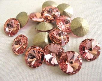 12 Light Rose Foiled Swarovski Crystal Rivoli Stone 1122 39ss 8mm
