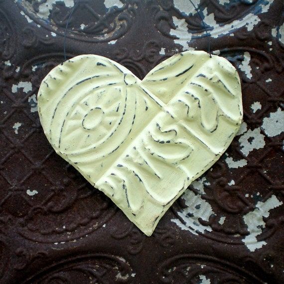 Wedding Decoration Metal Heart Vintage Ceiling Tin Creamy Ivory Cottage Chic Valentine