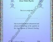 Reiki Certificate Template - Dapple Design - Portrait Oriented