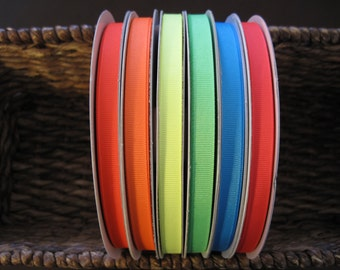 """50% OFF--3/8"""" Neon Grosgrain Ribbon--5 yards--You CHOOSE COLOR--6 Colors Available"""