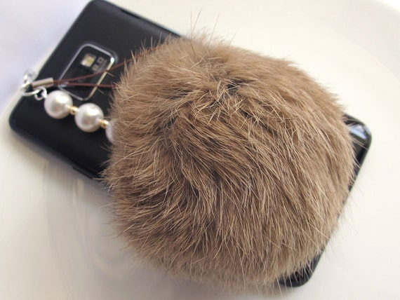 Fairy Kei Fantasy Inspired Sweet Harajuku Style Brown Rabbit Fur ball, swarovski pearls Iphone Dust Plug, Strap. Galaxy S2 S3 Ipod Ipad Dec