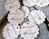 Kraft Calligraphic Wedding Favor Tags - Paper Bag Thank you tags -  Brown Rustic Wedding Gift Tags - Set of 50