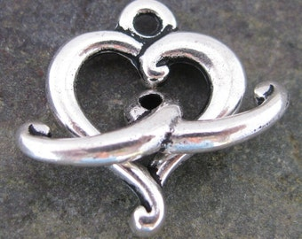 New - Pewter Heart Toggle Clasp Jewelry Finding Antique Silver 559 - 6 pieces