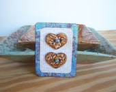 Stoneware Heart Buttons in Speckled Tan Glaze - Set of 2