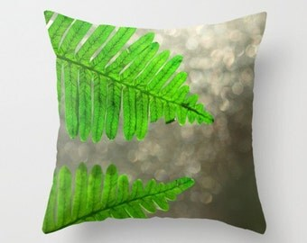 Fern Pillow Cover Fern Pillow Cover Natural History Woodland Forest Scene Green Fern Delicate Things Sweetness Green Forest