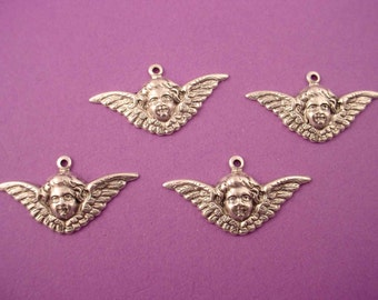 4 silver ox ox Angel Cherub art nouveau Victorian wing  charms 29mm