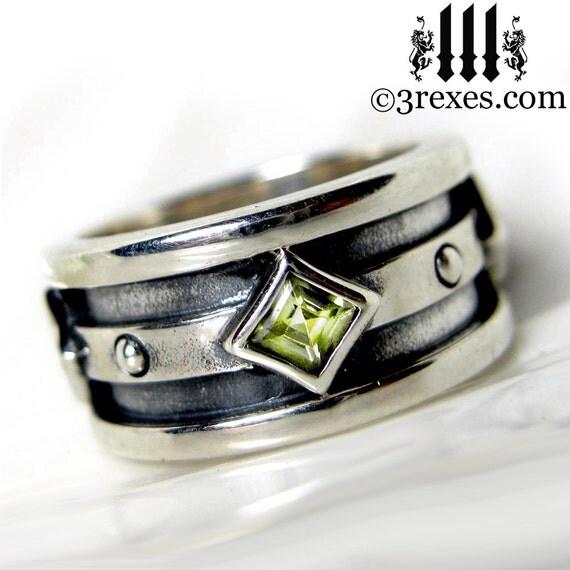 mens silver wedding ring green peridot stone moorish gothic. Black Bedroom Furniture Sets. Home Design Ideas