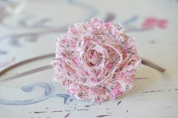 Shabby Chic Chiffon Flower Headband . In Country Pink . Skinny Elastic Headband