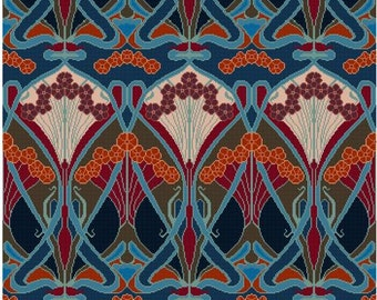 Beauclair Repeating Wallpaper design for Cross stitch PDF
