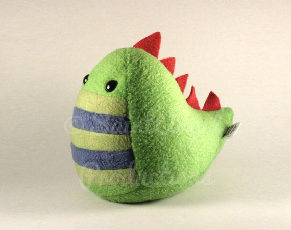 Plush Stuffed Dinosaur Handmade in Greens and Blue with Red Spikes, MADE TO ORDER
