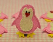 Set of 6pcs handmade felt penguin--baby pink (FT805)