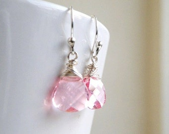 Swarovski Crystal Earrings Pale Pink  Wire Wrapped Sterling BE12