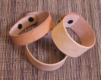 1.25 inch leather cuff bracelet blanks 2 with snaps 2 - see example fits 7.5 inch and 8.5 inch