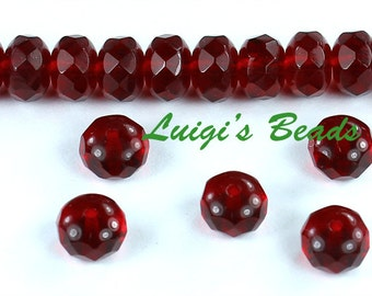 25 Ruby Red Czech Glass Firepolish Faceted Donut Beads 7x5mm