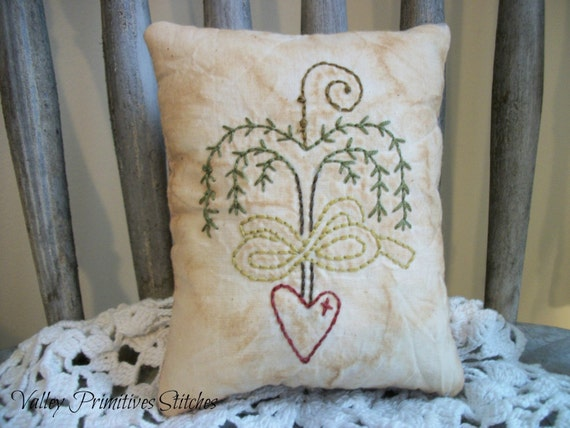 Primitive Decorative Pillow Willow Tree Heart Hand