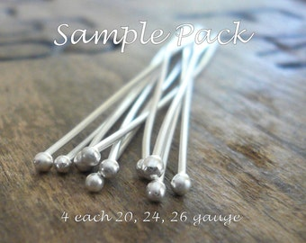 SAMPLE Pack Handmade Ball Headpins - 2 pair each of 24, 26 & 20 gauge, 2 inches.
